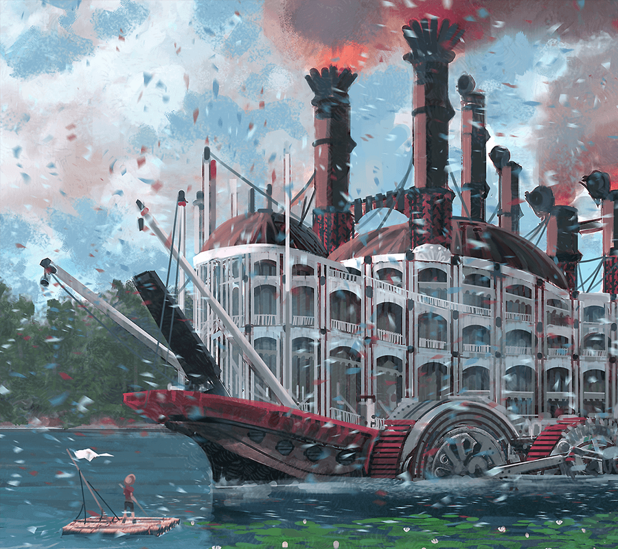 Concept art of a paddle boat